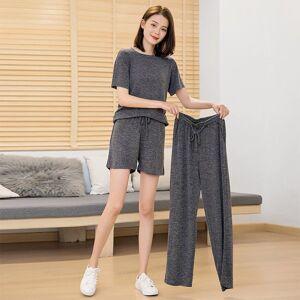 DHgate women's sleepwear elastic spandex pajamas set women big size casual pyjama female summer cool cotton long pants shirt shorts homew