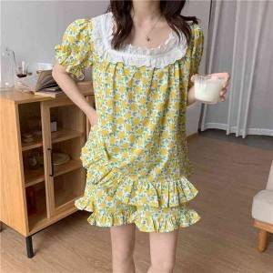 DHgate women's sleepwear short sleeves summer chic florals sweet girls 2021 two pieces sets femme loose stylish pajama suits yfxu
