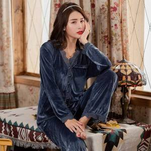 DHgate 2021julys song winter pajamas set soft velvet casual loose woman warm lace sleepwear plus size autumn nightwear female m-5xl