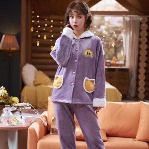 DHgate women's sleepwear violet sweet pajamas flannel winter set women pajama button full sleeve shirt pant thick warm pjs acyv