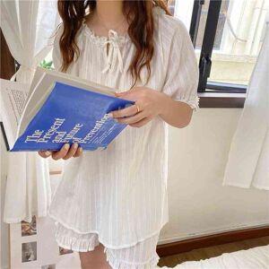 DHgate women's sleepwear 2021 loose women cotton lace two piece sets stylish summer casual femme pajama suits qlkj