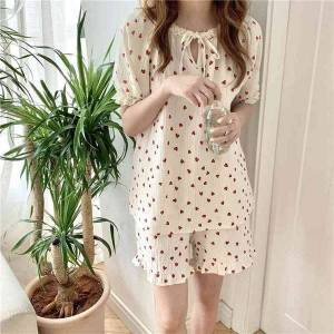 DHgate women's sleepwear sweet lace printed heart homewear soft chic 2021 summer cotton yarn loose casual two piece suit pajamas sets o9i