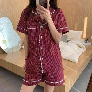 DHgate women's sleepwear 2021 soft sweet girls plaid loose comfortable home wear all match casual femme pajamas sets 5o2h