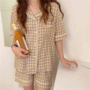 DHgate women's sleepwear two piece suit short sleeves soft plaid 2021 casual femme chic sweet summer loose homewear pajamas sets fj3w