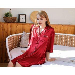 DHgate sleepwear half sleeve fashion turn down collar ladies pijamas solid color womens above knee length sleepshirts letter print