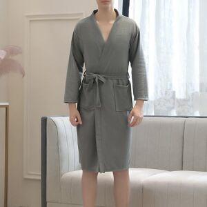 DHgate men's sleepwear sfit robe soft absorbent lightweight long length kimono waffle spa bathrobe leisure wear for men clothes xs58