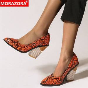 DHgate morazora big size 34-46 wedges shoes woman pointed toe spring summer ladies shoes snake fashion casual shoes
