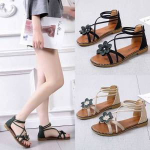 DHgate 2020 summer shoes woman sandals casual open toe back zipper ankle strap flowers beach gladiator