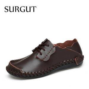 DHgate surgut brand  genuine leather lace-up men casual shoes new 2020 breathable male footwear spring & summer flat shoes