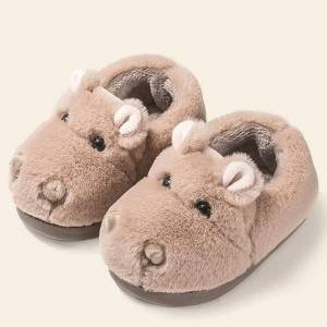 DHgate fluffy slippers kids baby indoor flock winter warm casual shoes children cute cartoon animal home slippers for girls g3
