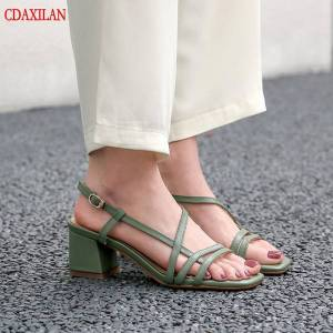 DHgate cdaxilan new to sandals women pu leather cross-band square heels open toe buckle-strap mid-heels sandals ladies summer shoes