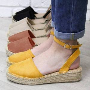 DHgate female closed toe shoes straw wedges sandals women's fashion casual strappy thick bottom round toe sandals platform 35-43