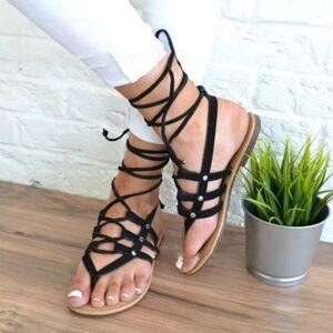 DHgate summer roman sandals multiple cross-strap tall knee high bondage thong nubuck women sandals flip flops black apricot