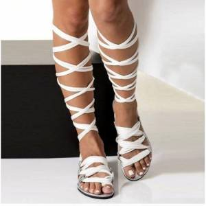 DHgate bohemia style summer flats sandals gladiator cross strap knee high woman boots flat casual beach sandals for women
