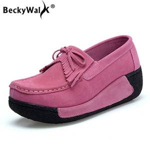 DHgate beckywalk autumn thick bottom platform sneakers women shoes suede leather casual shoes women tassels zapatos mujer loaferwsh2893