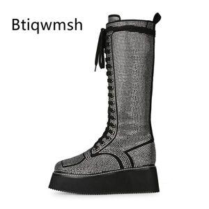 DHgate 2020 rhinestone knee boots women pointed toe rhinestone diamond platform wedges boots female bling bling knight