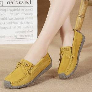 DHgate new moccasins women flats woman loafers suede leather walking shoes flat shoes women female
