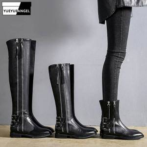 DHgate fashion women winter zipper knee high knight boots zipper low heels genuine leather riding boots handsome punk shoes