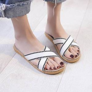 DHgate women summer casual beach slippers home slipper cross strap casual shoes linen slippers plus size women #6.9