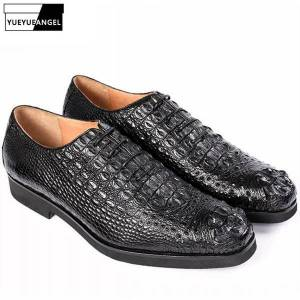 DHgate luxury crocodile genuine leather mens smart casual shoes euro fashion brand lace up round toe party wear male dress shoes