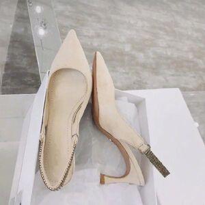 DHgate kmeioo elegant shoes women wedding pumps pointed toe high heels slingback sandals crystal chain thin heels back strap shoes