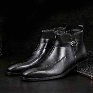 DHgate 2020 design genuine luxury leather men high ankle degree zip buckle belt shoes in basic boots f4q2