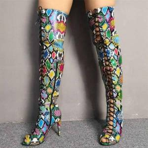 DHgate new look made in china shoes boots peep toe snakeskin lace up over the knee long thigh high boots customized big size 47
