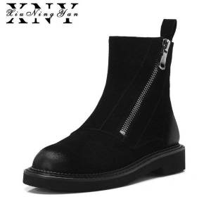 DHgate xiuningyan women wedges platform boots 2020 fashion side zipper plush ankle boots for women genuine leather autumn winter