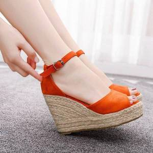 DHgate summer sandals woman 2020 fashion casual wedge sandals bohemian style fish mouth platform high heels shoes plus size1