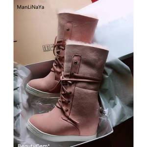 DHgate cow suede wedges round toe women boots warm winter shearling height increasing female snow boots cross-tied women ladies shoes