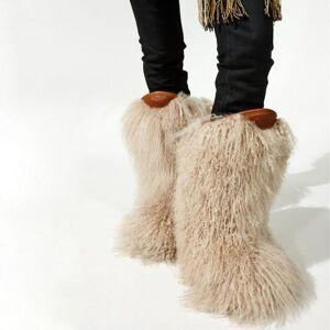 DHgate european women winter curled long wool fur snow boots flats mid calf boots girl's fashion full fur tassel covered short