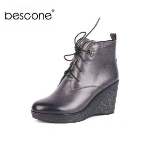 DHgate bescone special design boots genuine leather comfortable wedge round toe sewing solid shoes new women's boots bc532