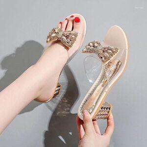 DHgate 2020 summer new women's sandals summer wear wild medium thick heel pvc transparent rhinestone bow bow heel sandals women1