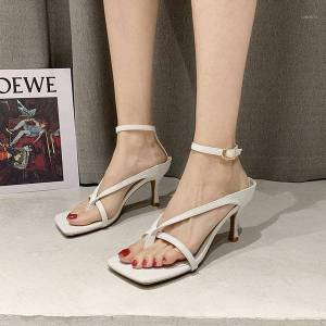 DHgate weibate summer high heels sandals women narrow band stiletto ladies shoes square toe black thong sandals woman ruway shoes1