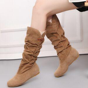 DHgate women fur knee high fashion flock plush padded winter snow casual flat heels lace warm black brown long boots ladies