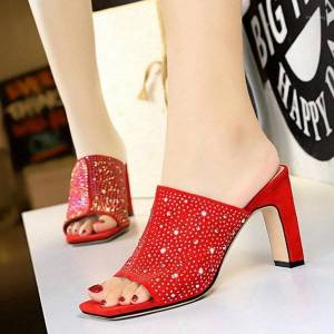 DHgate wedding shoes women sandals ladies high heel slippers crystal candy color open toes fashion female slides summer shoes party1