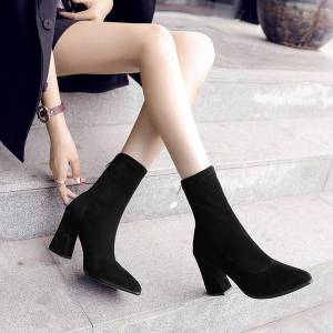 DHgate aardimi women's pointed toe high heel boots for women stretch fabric winter ankle boots work&safety solid woman shoes female