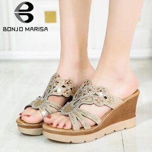 DHgate bonjomarisa new arrival trendy high wedges slides elegant metallic slippers women 2020 summer casual platform shoes woman1