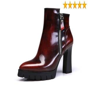 DHgate office lady pointed toe 2021 platform ankle boots winter warm genuine leather high-shoes women elegant high heel booties