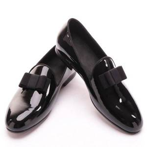 DHgate black patent leather men handmade loafers with black bowtie fashion banquet and prom men dress shoes
