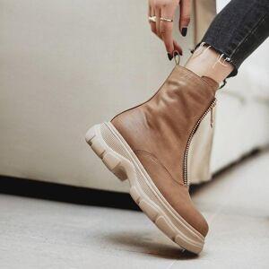 DHgate cowhide upper shoes women ankle boots autumn and winter ladies boots vintage front zipper short snow platform shoes