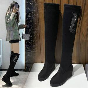 DHgate woman 2021 new in leather stretched fabrics on her knee high-toed boots round toe women's shoes winter thin boot 0ma0