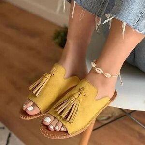 DHgate women shoes sandals summer flat shoes pu leather gladiator tassel wild sandals women designers zapatos de mujer1