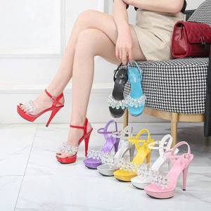 DHgate 2020 women's sandals crystal-clear heel thin see high heels 13-15 on elegant party shoes dkb1