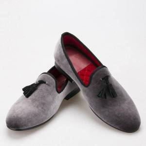 DHgate style handmade loafers gray velvet men shoes with black suede tassel fashion party dress shoes men's flats