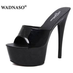 DHgate wadnaso woman wedding shoes sandals 2020 nightclub high-heeled 15cm shoes slippers fine with waterproof sandal summer pumps1