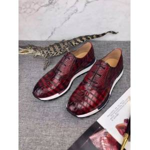 DHgate 100% genuine real crocodile belly glossy skin men shoe durable solid crocodile skin men business shoe with 2 colors mixed