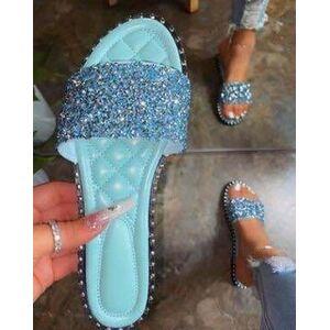 DHgate wild women shiny slipper summer casual crystal rhinestone beach flat shoes fashion flip flop non-slip outdoor sandal lady slides