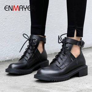 DHgate enmayer 2020 basic ankle boots for women fashion genuine leather lace-up round toe winter shoes women buckle womens boots 34-39