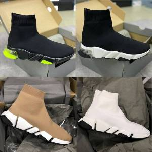 DHgate men's stretch mesh sock sneakers fashion lace-up women sock trainers runner designer shoes black white 34 colors with box